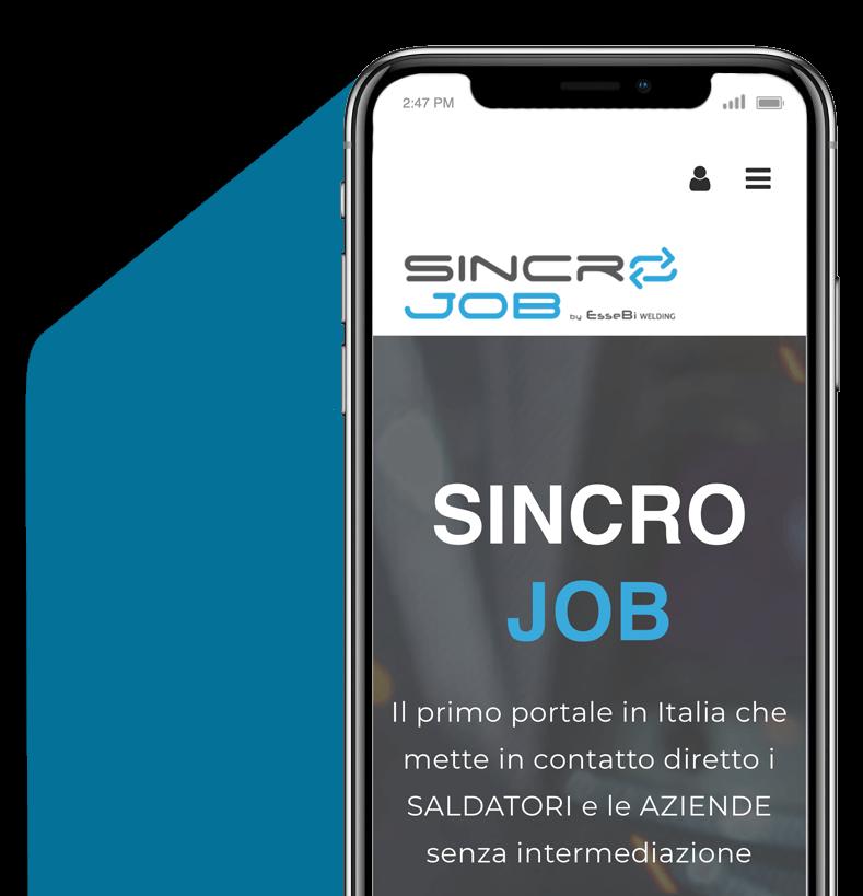 l'immagine di un iPhone x con lo sfondo del sito del portale sincro job